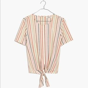 Madewell Button-Back Tie Tee, Rainbow Stripe - NWT